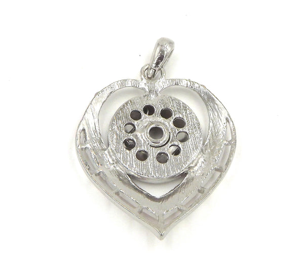 1 Heart Rhinestone Pendant - FITS 18MM Candy Snap Charm Jewelry Silver