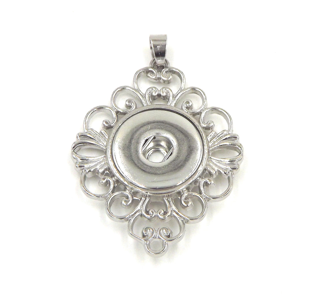 1 Flower Pendant - FITS 18MM Candy Snap Charm Jewelry Silver