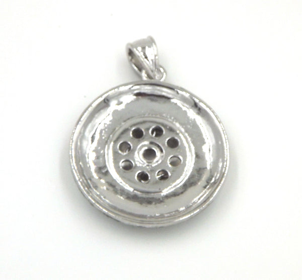 1 Round Pendant - FITS 18MM Candy Snap Charm Jewelry Silver