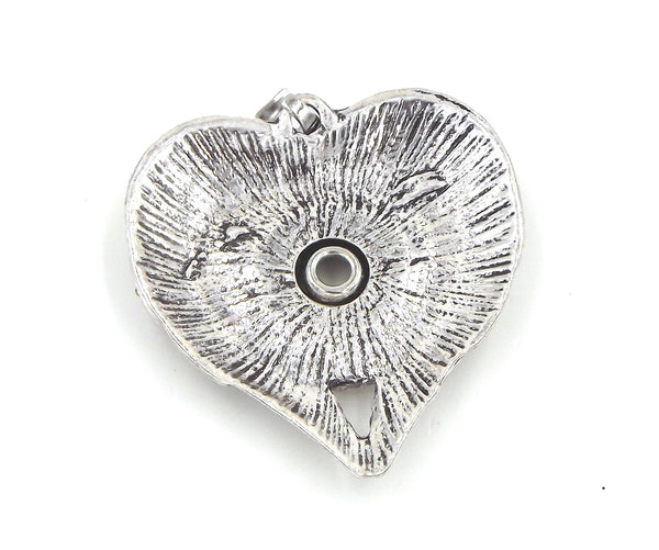 1 Heart Pendant - FITS 18MM Candy Snap Charm Jewelry Silver