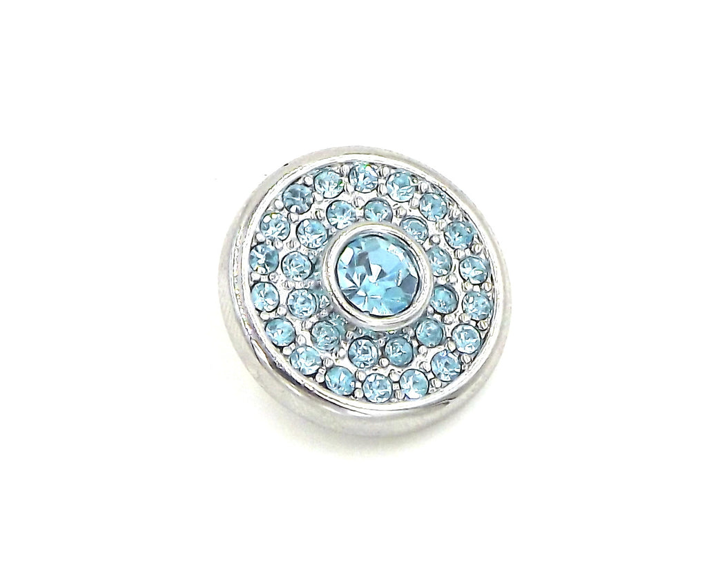 1 silver and blue  Button- FITS 18MM Candy Snap Charm Jewelry Silver