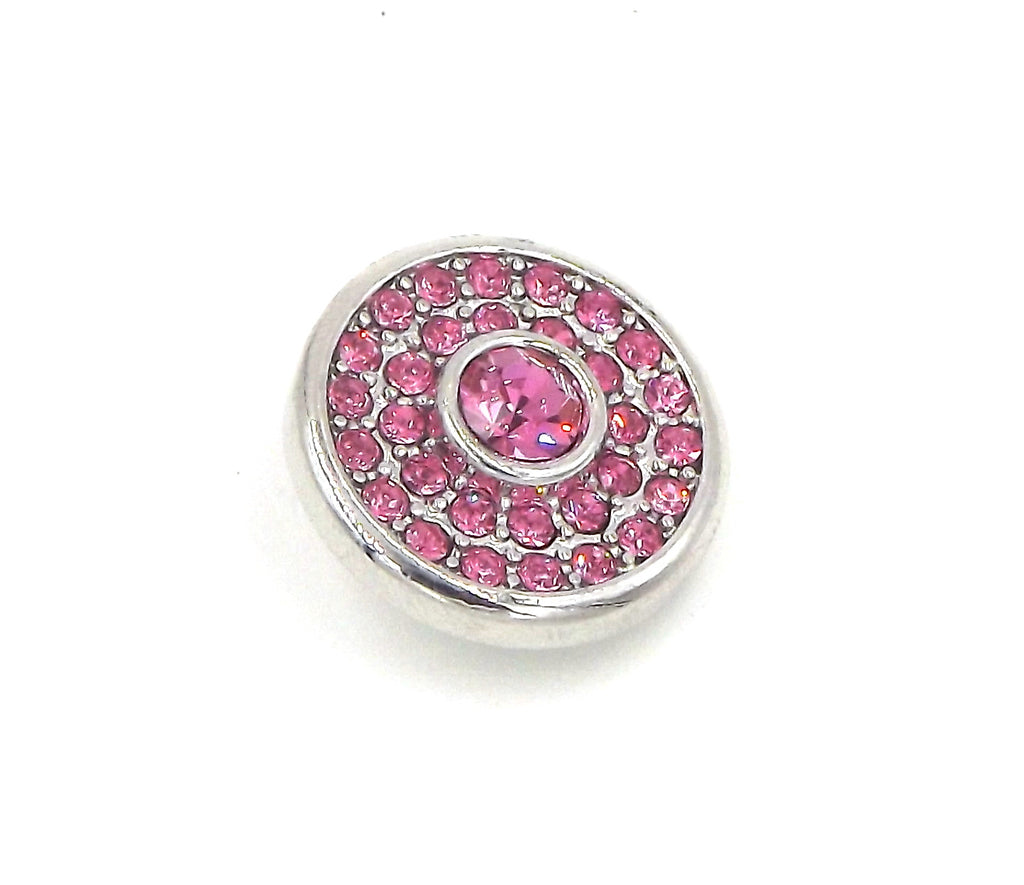 1 silver and pink  Button- FITS 18MM Candy Snap Charm Jewelry Silver