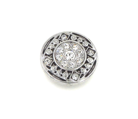 1 antique silver and black  Button- FITS 18MM Candy Snap Charm Jewelry Silver
