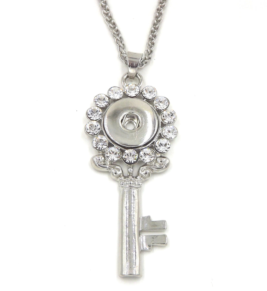 1 key pendant necklace - FITS 18MM Snap Snaps Charm Jewelry Silver