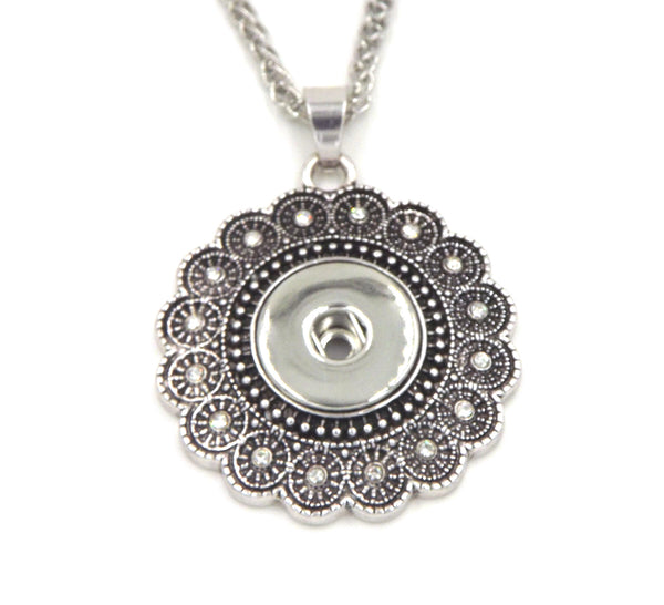 1 flower pendant necklace - FITS 18MM Snap Snaps Charm Jewelry Silver