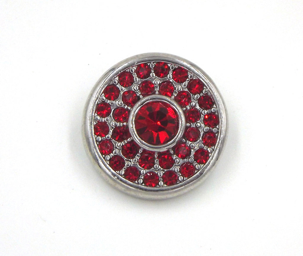 1 antique silver and red  Button- FITS 18MM Candy Snap Charm Jewelry Silver