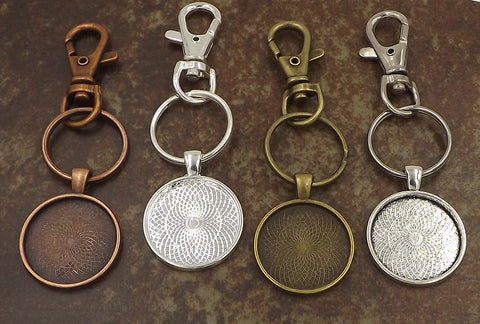 1 inch (25mm) Circle Pendant Key Chain 4 Different Colors to Choose From