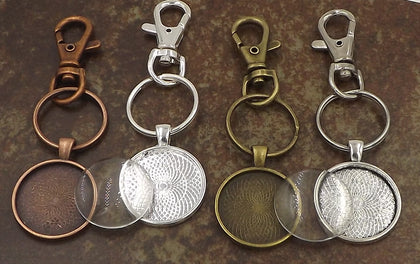 1 inch (25mm) Circle Pendant Key Chain & Dome Glass 4 Different Colors to Choose From