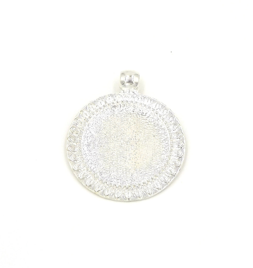 1 inch (25mm) Sunflower Pendant Pendant Tray in Silver