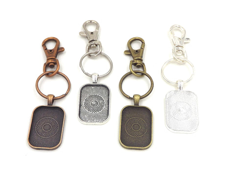 20X30mm Rectangle Pendant Key Chain 4 Different Colors to Choose From
