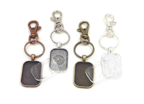 20X30mm Rectanglev Pendant Key Chain & Dome Glass 4 Different Colors to Choose From