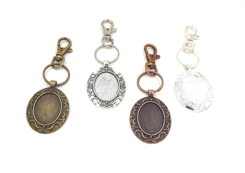 22X30mm Beard Oval Pendant Key Chain 4 Different Colors to Choose From