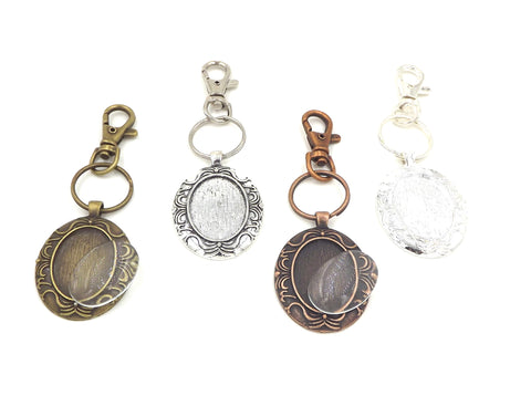 22X30mm Beard Oval Pendant Key Chain with glass 4 Different Colors to Choose From