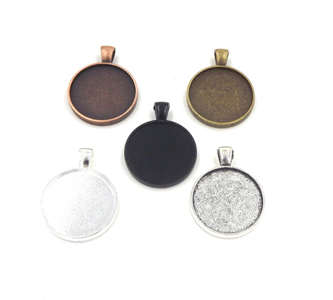 1 inch (25mm) Double Sided Circle Pendant Tray 5 Different Colors to Choose From