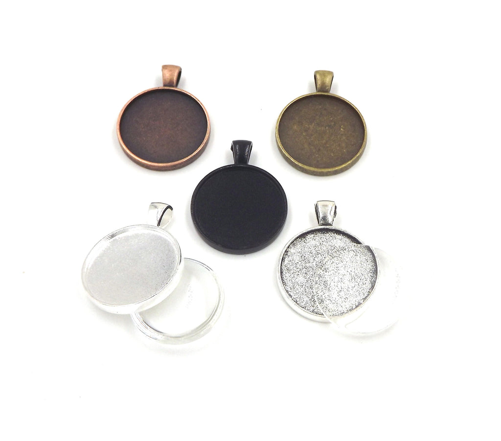 1 inch (25mm) Double Sided Circle Pendant Tray with glass dome 5 Different Colors to Choose From
