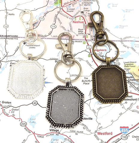 22X30mm Octagonal Pendant Key Chain 3 Different Colors to Choose From