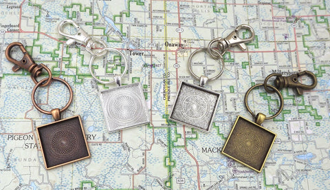 1 inch (25mm) Square Pendant Key Chain 4 Different Colors to Choose From