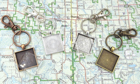 1 inch (25mm) Square Pendant Key Chain & Flat Glass 4 Different Colors to Choose From