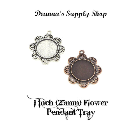 1 inch (25mm) Flower Circle Pendant Tray 2 Different Colors to Choose From