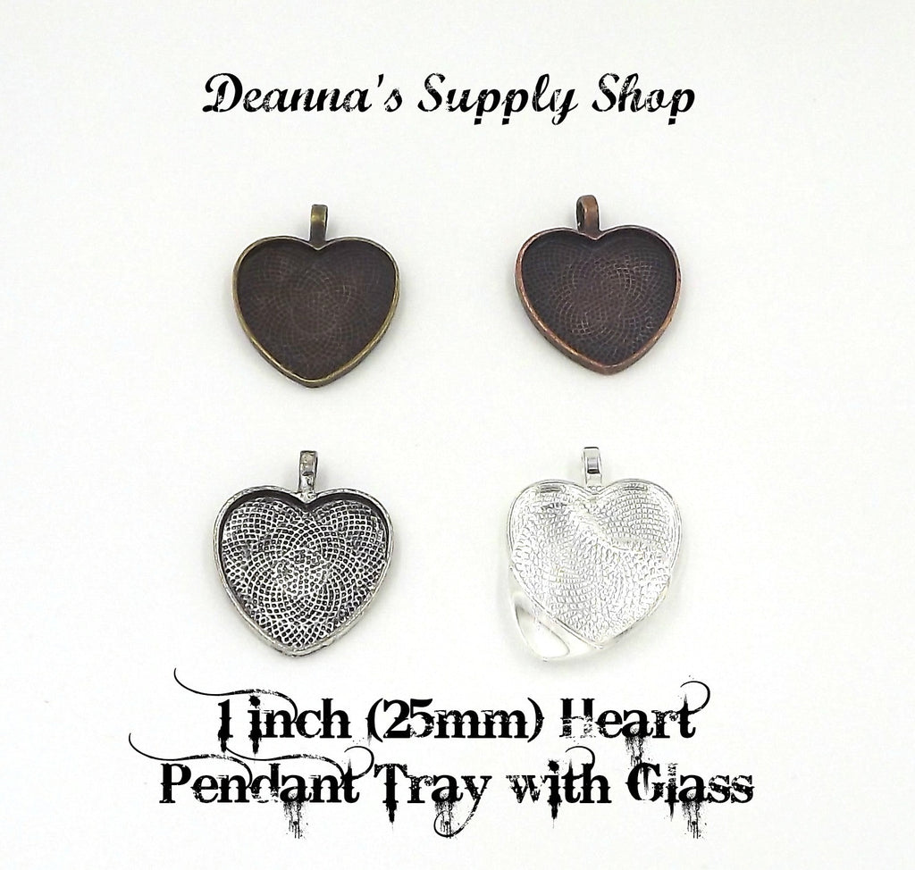 1 inch (25mm) Heart Pendant Tray with glass dome 5 Different Colors to Choose From
