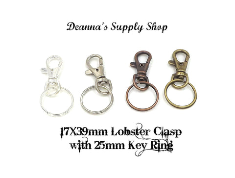 17X39mm Lobster Clasp with 1inch (25mm) Key Ring 4 Different Colors to Choose From