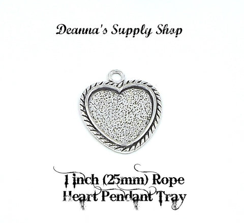 1 inch (25mm) Rope Heart Pendant Tray Antique Silver