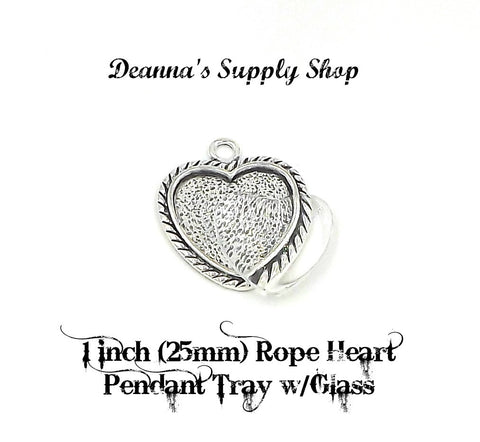 1 inch (25mm) Rope Heart Pendant Tray with glass in Antique Silver