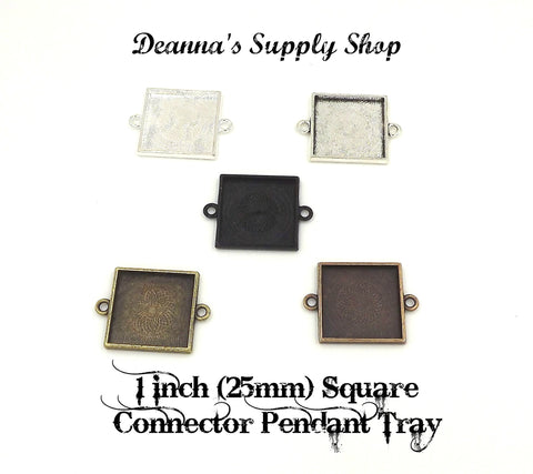1 inch (25mm) Square Connector Pendant Tray 5 Different Colors to Choose From
