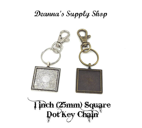 1 inch (25mm) Square Dot Pendant Key Chain 2 Different Colors to Choose From
