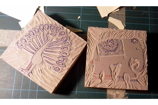 190406|6th April|Lino Block Carving with Monoprint