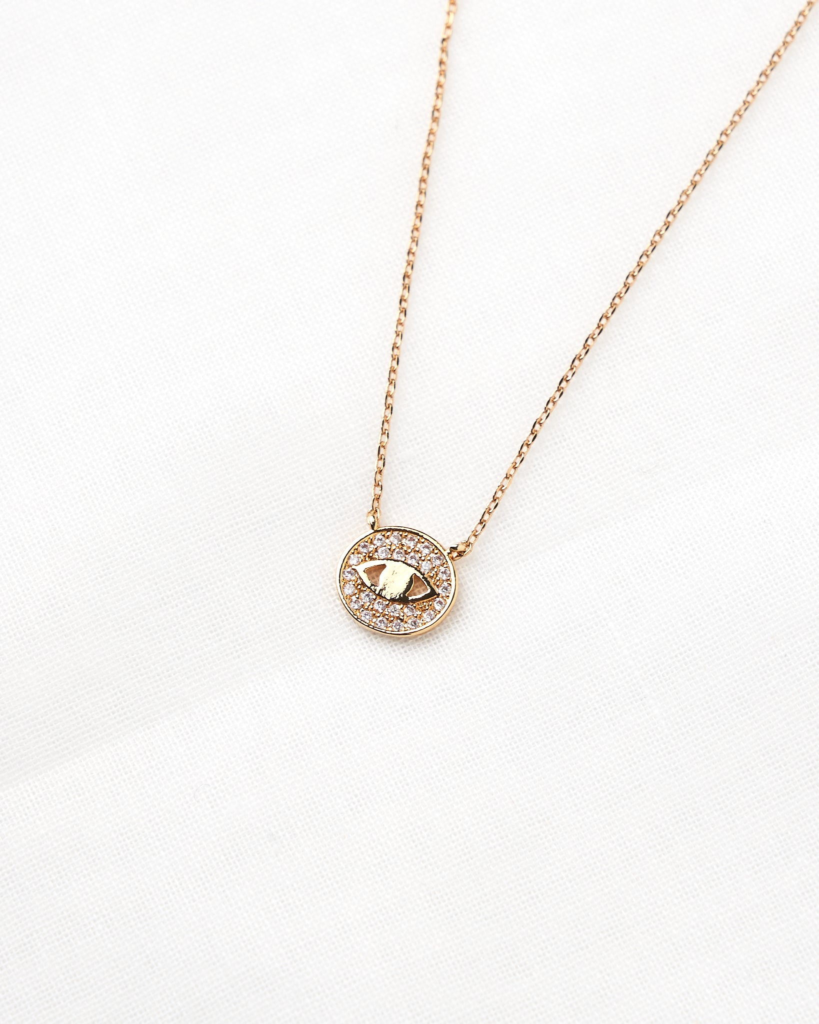 14K Detailed Eye Chain Necklace