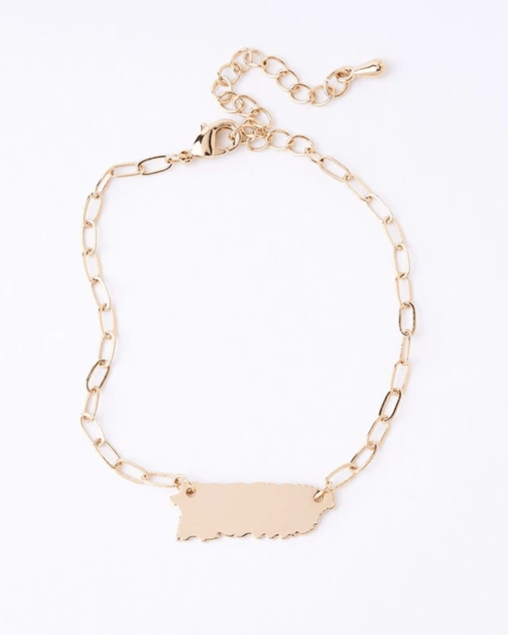 14K GOLD PLATED PUERTO RICO SQUARE CHAIN BRACELET