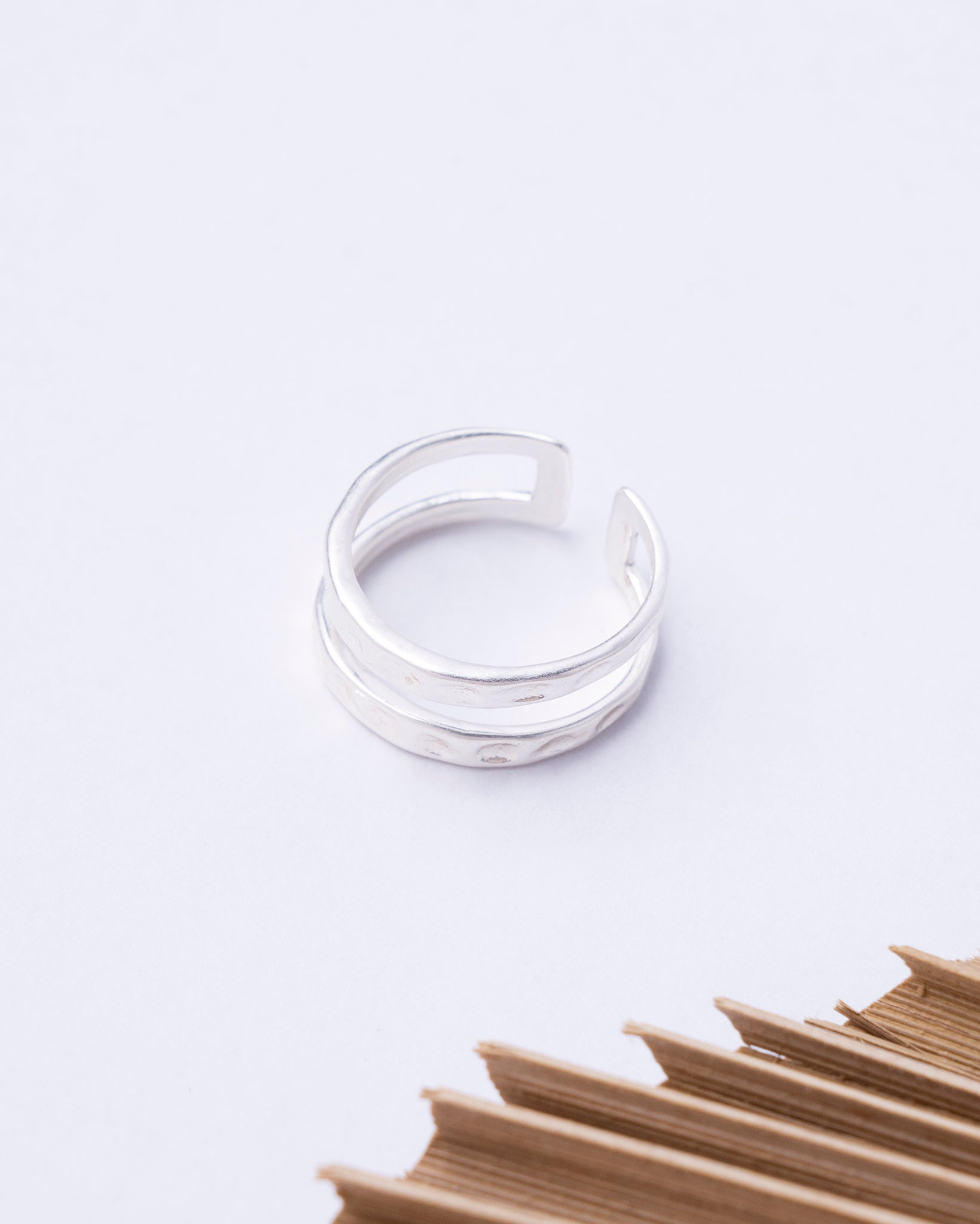 Double Hammered Row Ring