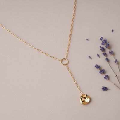 SQUARE CHAIN COIN LARIAT