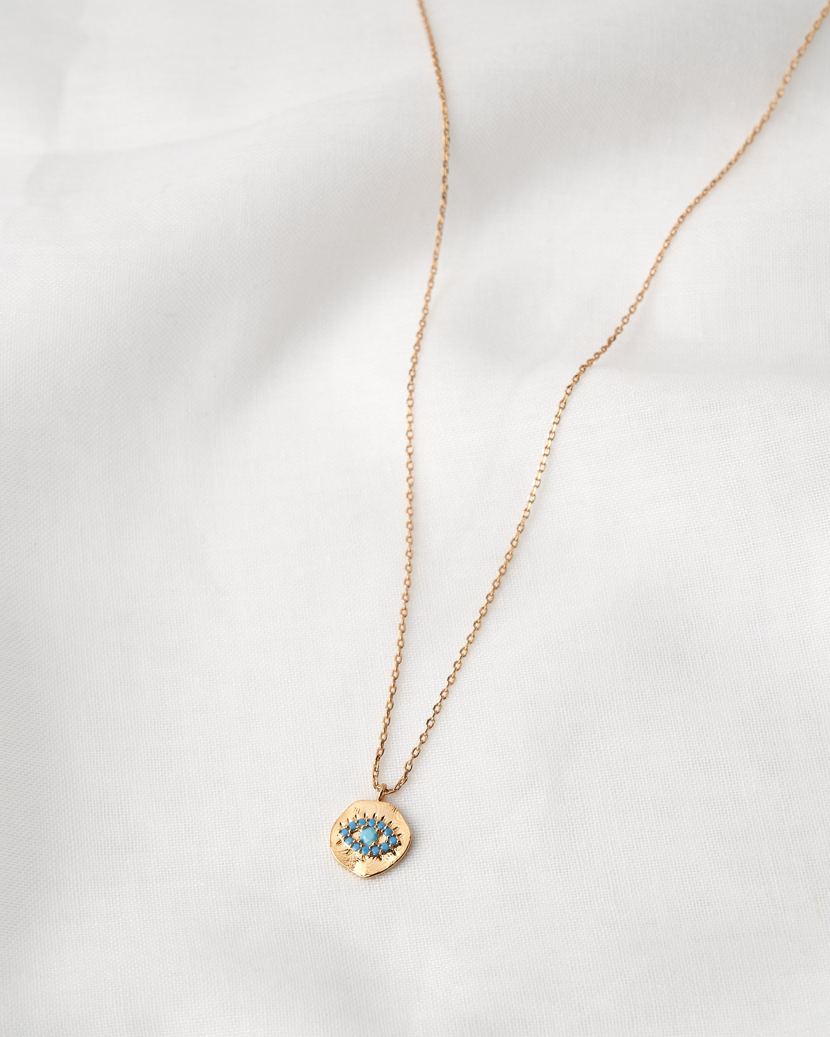 14K Blue Eye Chain Necklace