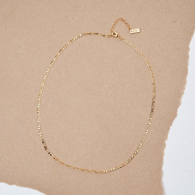 14K GOLD PLATED FIGARO LAYERING CHAIN