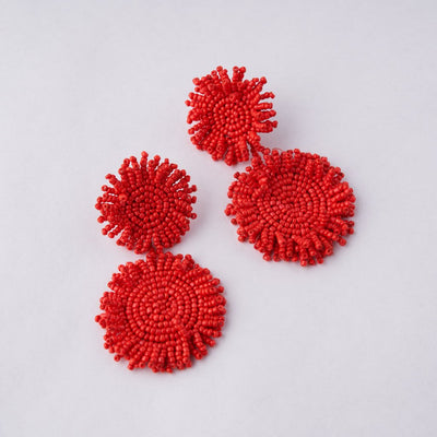 BEADED POM-POM EARRING