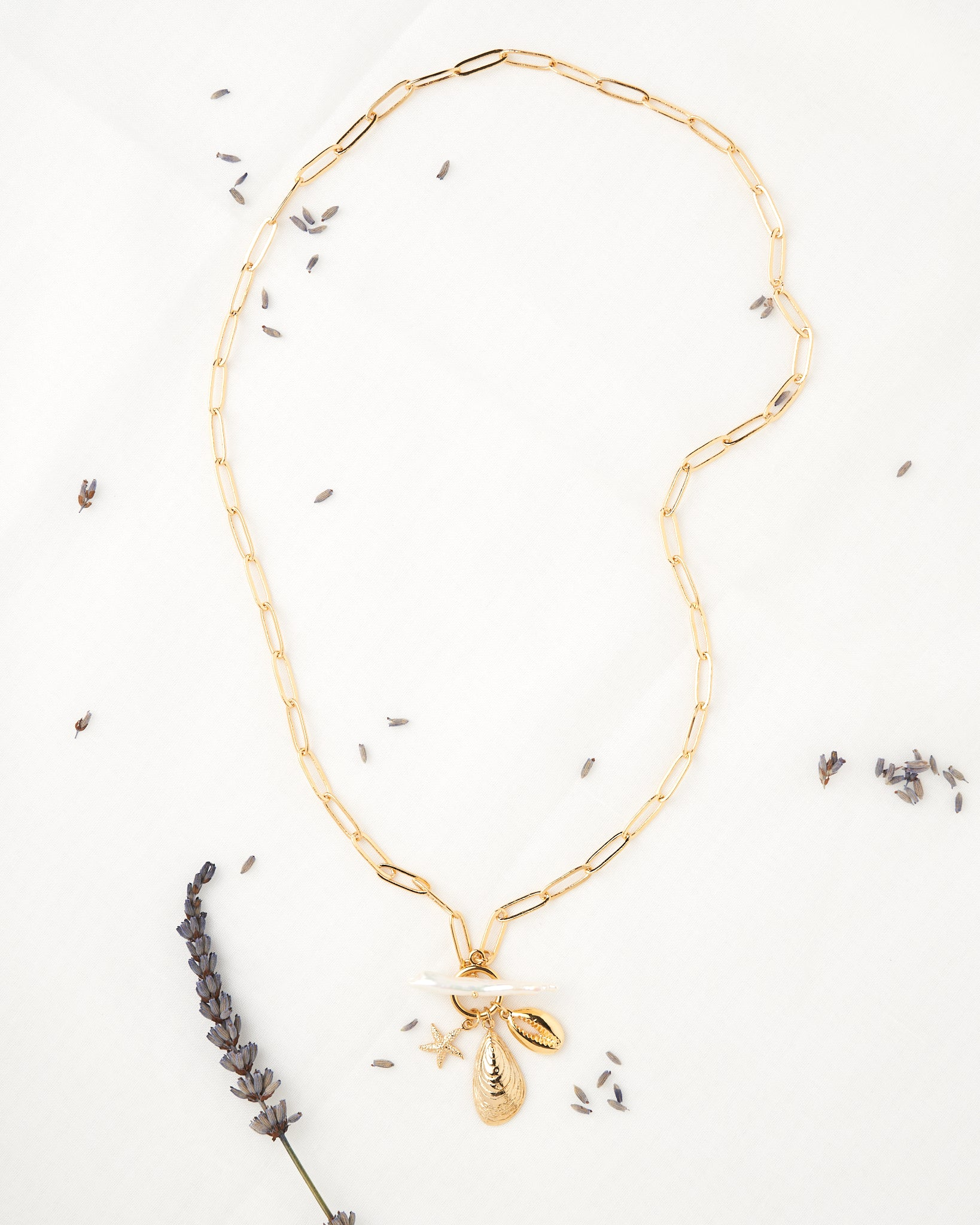 14K Shells & Star Chain Necklace
