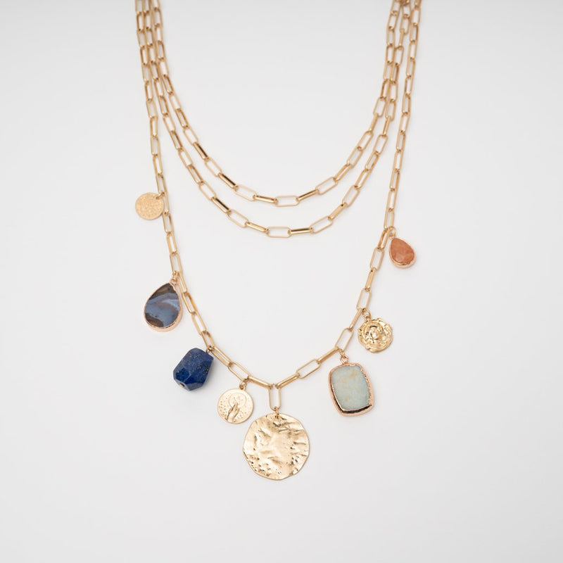 STONED MULTI LAYERED STATEMENT NECKLACE