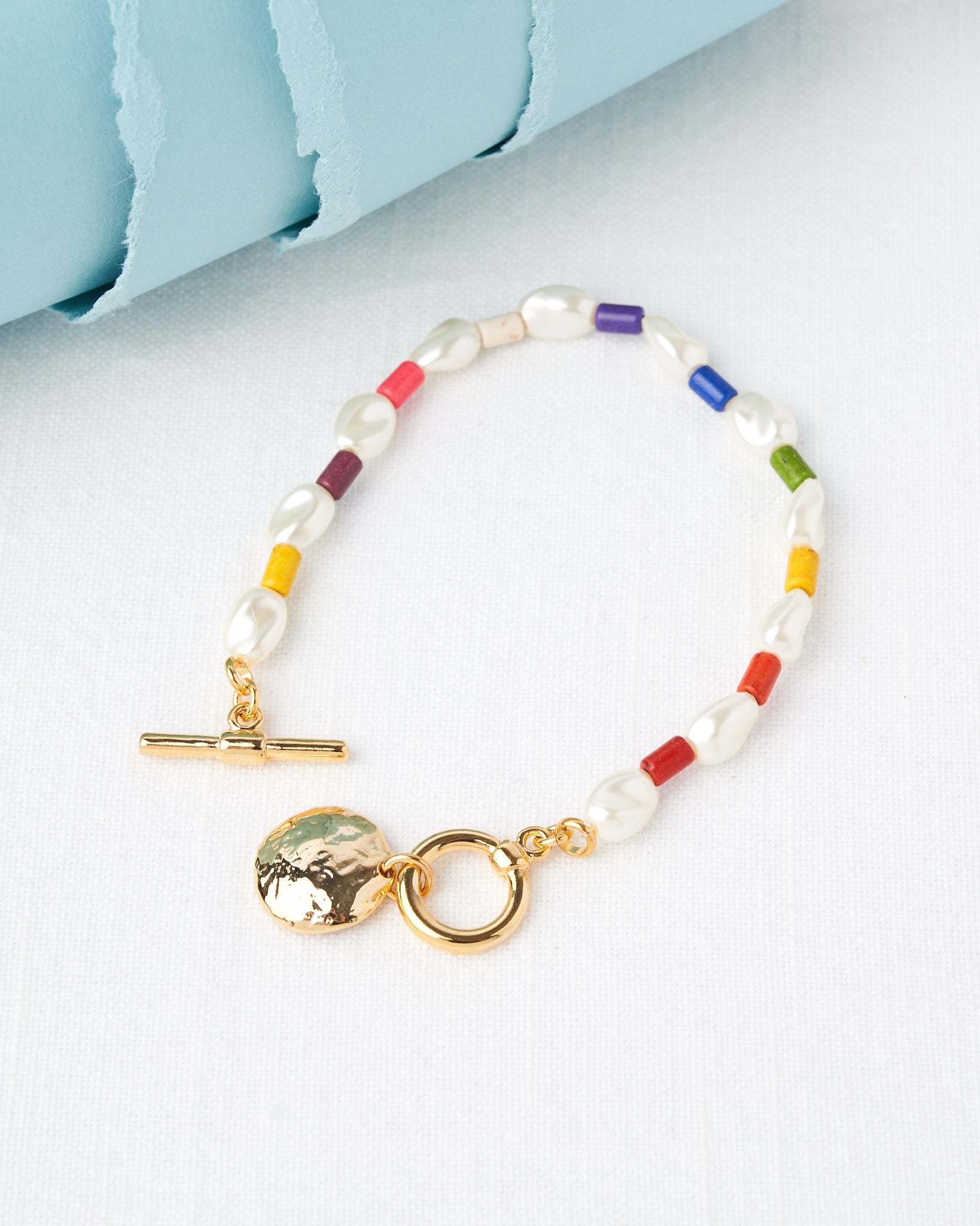14K Plated Pearls & Colors Bracelet