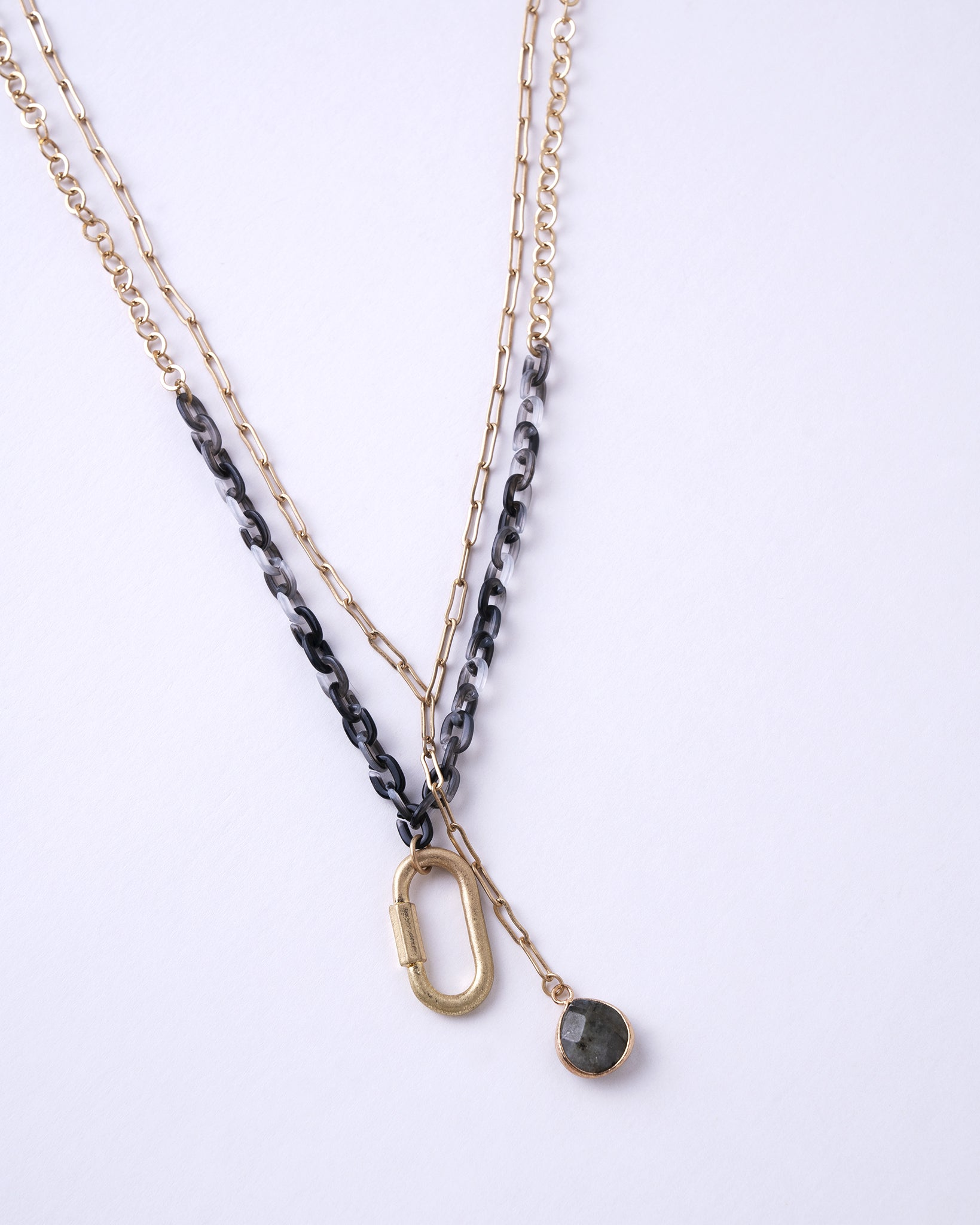 Gray & Gold Layered Necklace