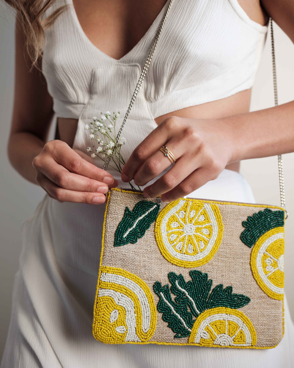 Lemons Beaded Purse