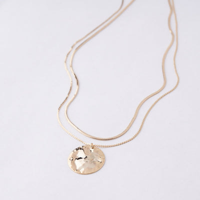 14K GOLD PLATED LAYERED COIN NECKLACE