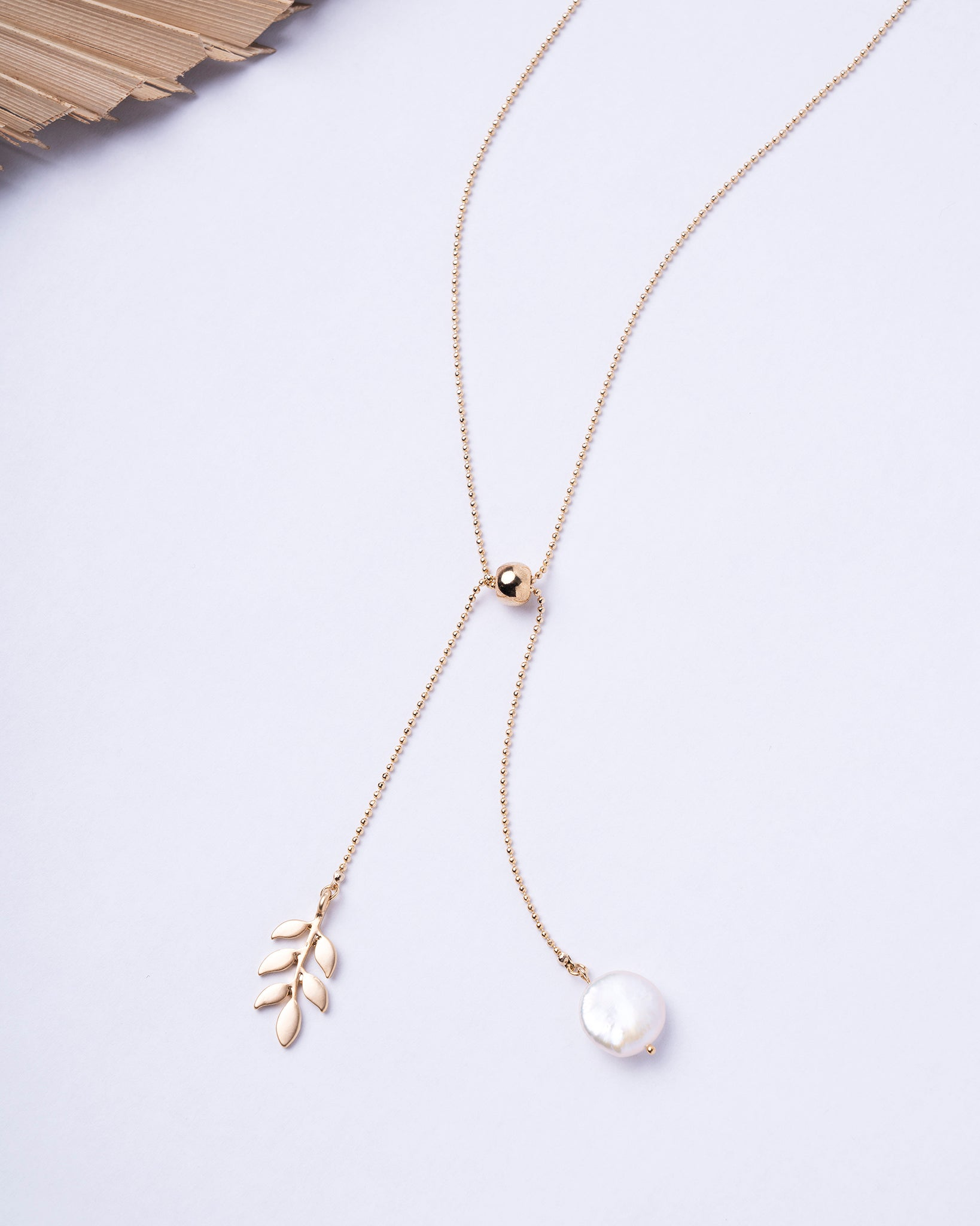 Pearl & Leaf Adjustable Necklace