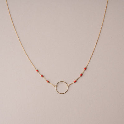 CIRCLE & BEADS NECKLACE