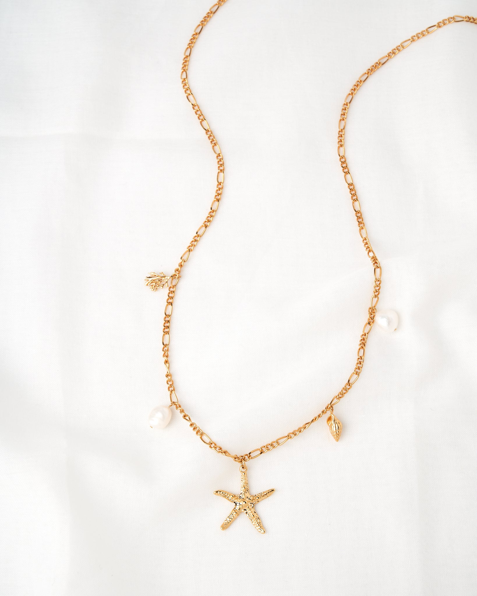 14K Star & Pearls Necklace