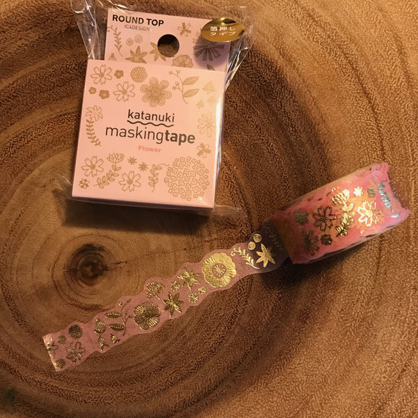 Tips Washi Tape - Golden Flowers | Tips 紙膠帶 - 金色花朵