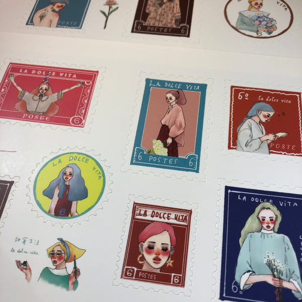 La Dolce Vita Stamp Sticker Sheets, Dearest | 甜蜜生活郵票貼紙, 致親愛的