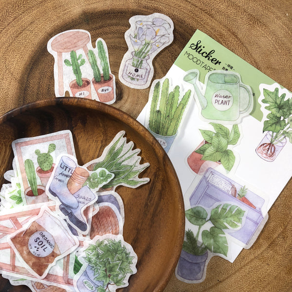 MOODTAPE Washi Flake Stickers, Plants | MOOD和紙膠帶 和紙貼紙包 綠色植物