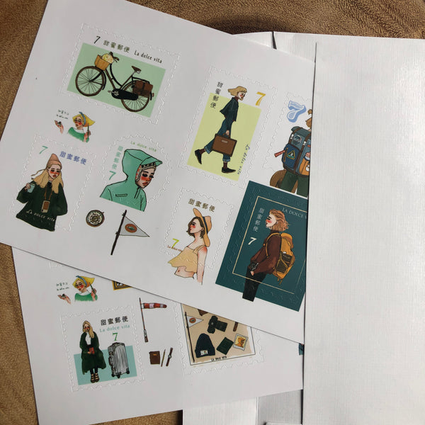 La Dolce Vita Stamp Sticker Sheets, Bon Voyage | 甜蜜生活郵票貼紙, 遙遠的旅程